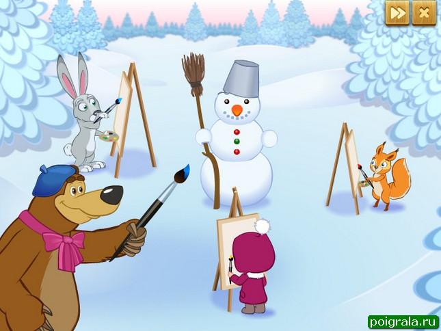 Картинка к игре Маша и медведь, кто нарисовал