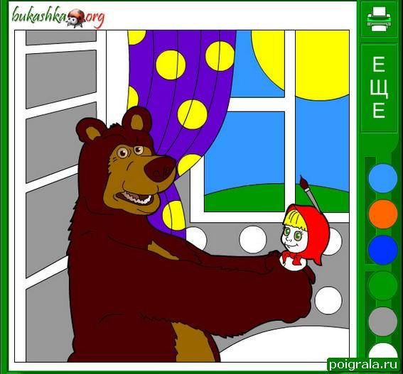 Картинка к игре Маша и медведь, раскраска