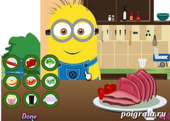 Картинка к игре Миньон готовит еду