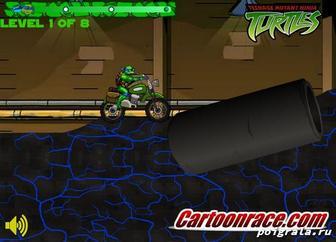 Картинка к игре Причключение черепашек на мотоцикле
