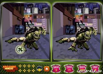 Картинка к игре Черепашки ниндзя, найди отличия