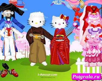 Игра Оденьте Хелло китти и кота