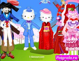 Картинка к игре Оденьте Хелло китти и кота