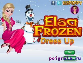 Игра Эльза и Олаф, морозная одевалка