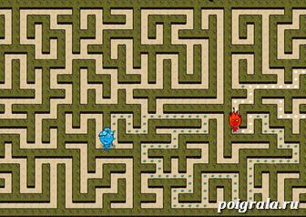 Картинка к игре Огонь и вода в лабиринте