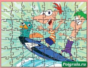 Картинка к игре Финис, Ферб и Перри на сноуборде