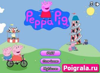 Игра Свинка Пеппа едет на велосипеде