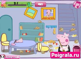 Картинка к игре Свинка Пеппа убирает комнату