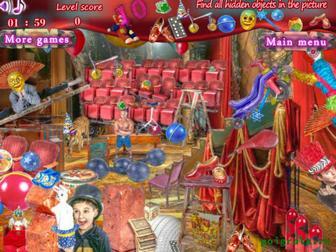 Картинка к игре Найди предметы в цирке