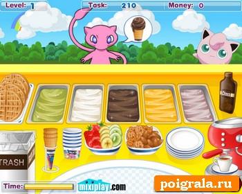 Картинка к игре Покемоны, магазин мороженого