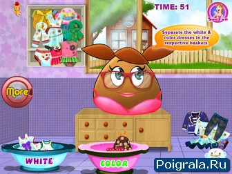 Картинка к игре Поу стирает одежду