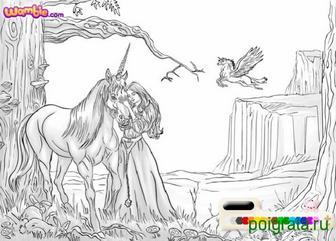 Картинка к игре Раскраска красавица и единорог