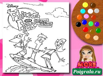 Раскраска Финис, Ферб и Кендис картинка 1