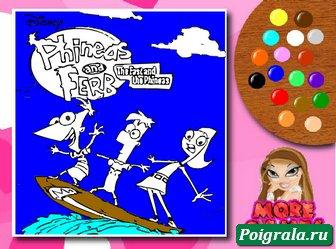 Картинка к игре Раскраска Финис, Ферб и Кендис