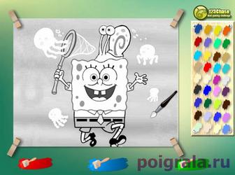 Игра Губка Боб с сачком, раскраска