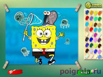 Картинка к игре Губка Боб с сачком, раскраска