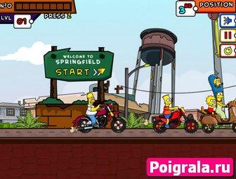 Картинка к игре Симпсоны, семейные гонки