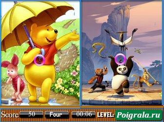 Картинка к игре Кунг фу панда и Винни пух сходства