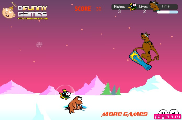 Картинка к игре Скуби Ду на сноуборде