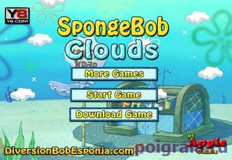 Губка Боб летает в облаках картинка 1