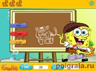 Картинка к игре Губка боб рисует картинки