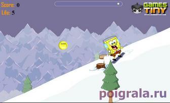 Картинка к игре Губка Боб на сноуборде в Швейцарии