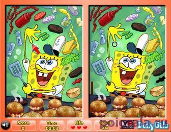 Картинка к игре Спанч Боб найди отличия