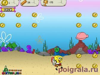 Картинка к игре Губка Боб собирает монетки на дне