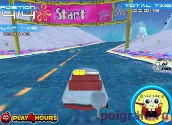 Картинка к игре Губка Боб соревнование на лодках