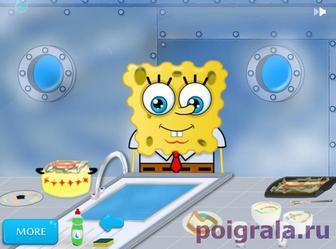 Картинка к игре Спанч боб моет посуду