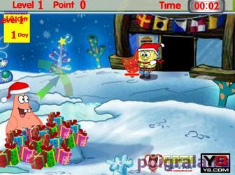 Картинка к игре Губка боб и Патрик, новогодние подарки