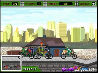 Картинка к игре Черепашки ниндзя, гонки на мотоциклах