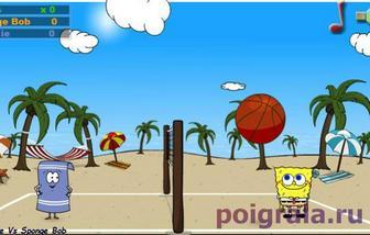 Картинка к игре Губка Боб играет в волейбол