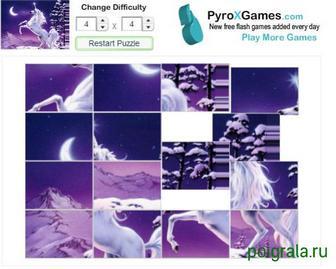 Картинка к игре Зимний пазл с единорогом